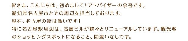 皆さま、こんにちは。初めまして!アドバイザーの余吾です。愛知県名古屋市とその周辺を担当しております。現在、名古屋の街は熱いです!特に名古屋駅周辺は、高層ビルが続々とリニューアルしています。観光客のショッピングスポットになること、間違いなしです。