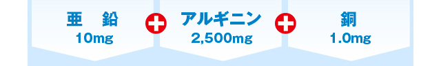 亜鉛10mg+アルギニン2,500mg+銅1.0mg