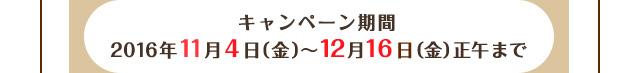 キャンペーン期間:2016年11月4日(金)〜12月16日(金)正午まで